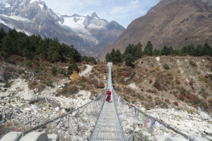 Monk on Bridge. Near Lo Monastary
