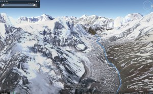 Google Earth Rendering of our tracks over Larkya Pass - 5,106m (16,752ft)